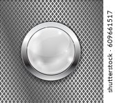 white round glass button with... | Shutterstock .eps vector #609661517