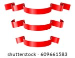 red ribbon banners. vector 3d... | Shutterstock .eps vector #609661583