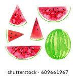 watercolor set with watermelon... | Shutterstock . vector #609661967
