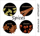 colorful spices card  vector... | Shutterstock .eps vector #609664187