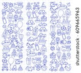 vector doodle set with toys for ... | Shutterstock .eps vector #609665963