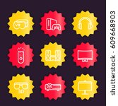 home entertainment system icons ... | Shutterstock .eps vector #609668903
