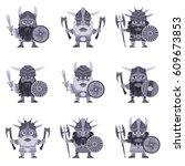 Set Of Vikings. Vector...