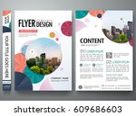 Portfolio template vector. Minimal flower brochure design report business flyers magazine poster. Abstract cover book  presentation. City on A4 layout. | Shutterstock vector #609686603
