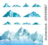mountain icons or logotypes.... | Shutterstock .eps vector #609690887