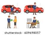 insurance agent inspect of... | Shutterstock .eps vector #609698057
