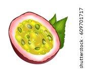 juicy passion fruit cut part... | Shutterstock .eps vector #609701717