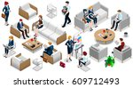 people isometric 3d  the big... | Shutterstock . vector #609712493