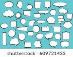 set comic stickers of comic... | Shutterstock .eps vector #609721433
