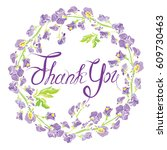 decorative handdrawn floral... | Shutterstock . vector #609730463