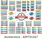 set of colored ribbons... | Shutterstock .eps vector #609731267
