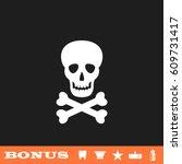 skull icon flat. white... | Shutterstock .eps vector #609731417