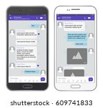 vector mobile phone chat... | Shutterstock .eps vector #609741833