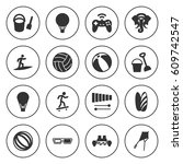 set of 16 fun filled icons such ... | Shutterstock .eps vector #609742547