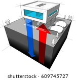 3d illustration of diagram of a ... | Shutterstock . vector #609745727