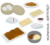 set of chinese food flat design ...   Shutterstock .eps vector #609747827