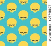 skull pixel art seamless... | Shutterstock .eps vector #609748877