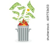 cash flow. banknotes fly away... | Shutterstock .eps vector #609753653
