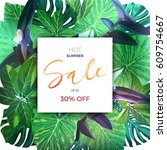 green botanical summer tropical ... | Shutterstock .eps vector #609754667
