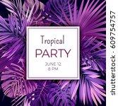 purple neon vector floral flyer ... | Shutterstock .eps vector #609754757
