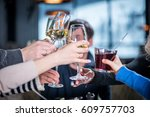 Small photo of Merry company celebrates victory. Grope of people Clink glasses