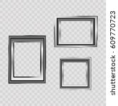 set of silver frame isolated on ... | Shutterstock .eps vector #609770723