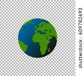 globe world map on transparent... | Shutterstock .eps vector #609782693