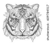 tiger head page for adult... | Shutterstock .eps vector #609784517