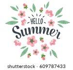 hello summer hand sketched... | Shutterstock .eps vector #609787433