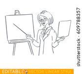 woman teacher standing in front ... | Shutterstock .eps vector #609788357