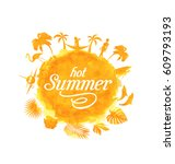 illustration tropical summer...   Shutterstock . vector #609793193