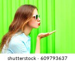 young woman in sunglasses sends ... | Shutterstock . vector #609793637
