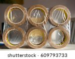 front view of package of six...   Shutterstock . vector #609793733