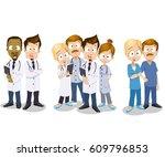 set of doctors characters.... | Shutterstock .eps vector #609796853