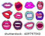 pop art woman lips set. sexy... | Shutterstock .eps vector #609797543