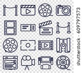 cinema icons set. set of 16... | Shutterstock .eps vector #609797573