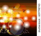 blur music background with drum ... | Shutterstock .eps vector #609798743