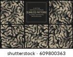set of 5 vector abstract... | Shutterstock .eps vector #609800363