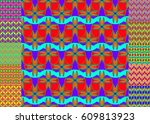 set of pattern for brochure or... | Shutterstock .eps vector #609813923