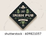coaster for beer with hand... | Shutterstock .eps vector #609821057