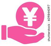 yen coin payment hand glyph... | Shutterstock . vector #609844097