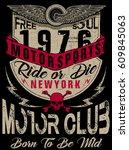 motorcycle label t shirt design ... | Shutterstock .eps vector #609845063