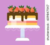sweet cartoon cake with...   Shutterstock .eps vector #609847547