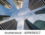 office building skyline looking ... | Shutterstock . vector #609858317