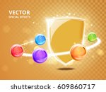 colorful beads connected by one ... | Shutterstock .eps vector #609860717