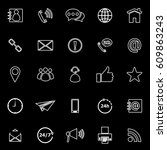 contact us line icons on black... | Shutterstock .eps vector #609863243