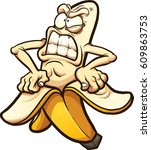 angry banana taking peel of.... | Shutterstock .eps vector #609863753