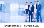 young businesspeople standing... | Shutterstock . vector #609865607