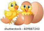 two little chicks hatching eggs ... | Shutterstock .eps vector #609887243