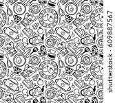 kitchen accessories  pot ... | Shutterstock .eps vector #609887567